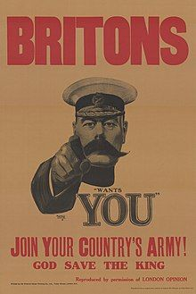 World War I recruiting poster, with Lord Kitchener pointing at the viewer