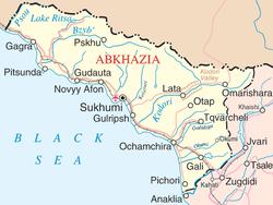 苏呼米在阿布哈兹境内的位置