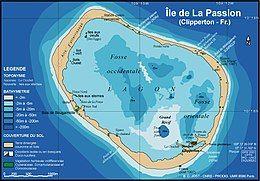 克利珀顿岛(Clipperton Island)有泻湖,以米为单位显示深度。