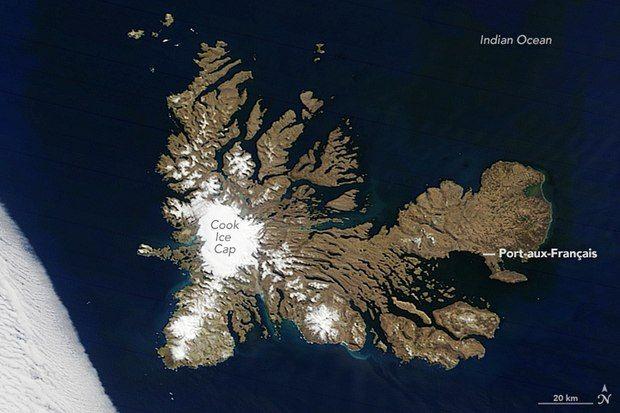 Kerguelen Islands from space, 2016
