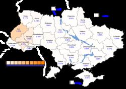 Viktor Yushchenko (First round) – percentage of total national vote (5.46%)