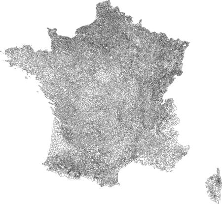 Map of the 36,569 communes of metropolitan France