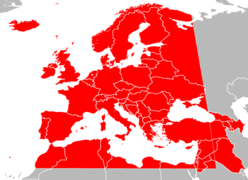 Map of countries in Europe, North Africa and Western Asia in grey, with the boundaries of the European Broadcasting Area superimposed in red