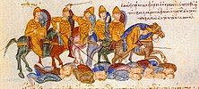 Byzantines defeat the Bulgarians at Kleidion, Madrid Skylitzes
