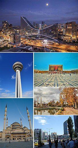 Clockwise, from top: Söğütözü skyline, Anıtkabir, Gençlik Parkı, Kızılay Square, Kocatepe Mosque, Atakule