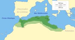Zirid territory (green) at its maximum extent around the year 980