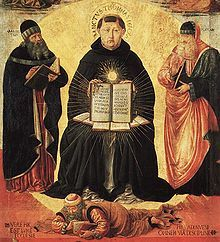 Drawing of a man (Thomas Aquinas) sitting with another man (Averroes) lying on his feet