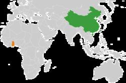 中国和加纳在世界的位置