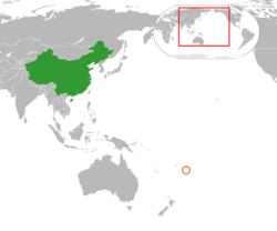 China和Tonga在世界的位置