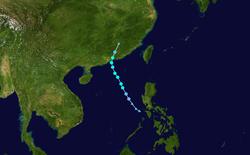 强热带风暴苗柏的路径图