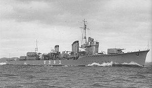 """阳炎型驱逐舰""""雪风""""。于昭和14年(1939年)12月摄影"""