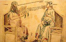Drawing of two man sitting in a debate