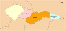 胡楚尔共和国(浅蓝色)在今天乌克兰外喀尔巴阡州的大致疆域。此地区共和国灭亡后归属捷克斯洛伐克第一共和国。