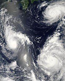 Satellite image of three simultaneous tropical cyclones