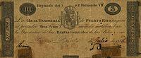 Obverse - Real Tesorería de Puerto Rico 3 pesos, 1815.jpg