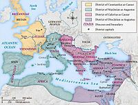 Map of the Roman Empire under the Tetrarchy, showing the dioceses and the four Tetrarchs' zones of influence