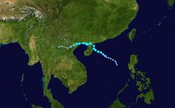 热带风暴韦帕的路径图