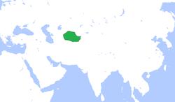 布哈拉酋长国(绿色),约1850年。