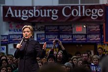 Clinton speaking at a college rally