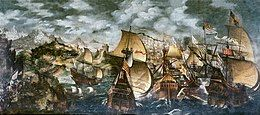 Elizabeth I and the Spanish Armada. Anonymous. Oil on canvas, 121.3 × 284.5 cm (473⁄4 × 112 in). Early 17th century.