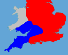 A colour coded map of England showing the political factions in 1140