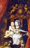 A young King Louis XIV of France (wearing Fleur-de-lis) sitting on a throne with his brother Philippe, Duke of Orléans.jpg