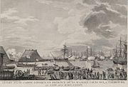 Construction de la digue de Cherbourg remorquage d un cone en presence du roi en 1786.jpg
