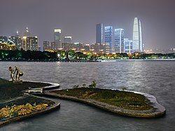 Skyline of Jinji Lake in 2017
