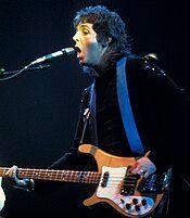 Paul McCartney performing in 1976