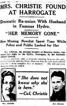 Newspaper article with portraits of Agatha and Archie Christie