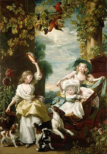Imaginary garden scene with birds of paradise, vines laden with grapes, and architectural columns. The two young princesses and their baby sister wear fine dresses and play with three spaniels and a tambourine.