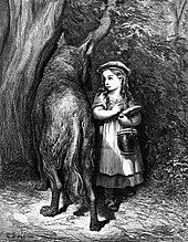 An illustration of Red Riding Hood meeting the wolf