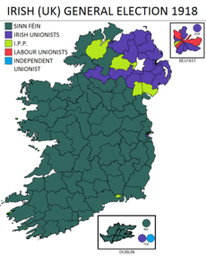 The results of the 1918 Irish general election, in which Sinn Féin and the Irish Parliamentary Party won the majority of votes on the island of Ireland, shown in the color green and light green respectively, with the exception being primarily in the East of the province of Ulster.