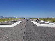 Runway Identifying numbers being painted at Rocky Mountain Metropolitan Airport [KBJC]