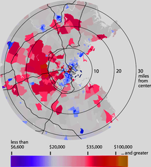 Map of Boston and the surrounding area displaying per capita income distribution