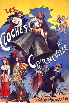 brightly coloured theatre poster depicting the major characters of the opera