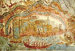 Colorful, detailed fresco with people and animals