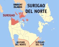 Map of Surigao del Norte with Surigao City highlighted