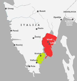 Map of Labin Republic (in green) within Istria, 1921