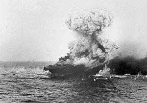 Large explosion aboard USS Lexington (CV-2), 8 May 1942 (80-G-16651).jpg