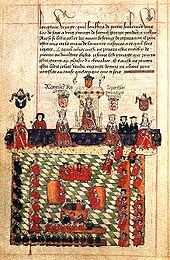 Below a piece of text is seen a king on a throne on a podium. On either side is seen a king and a bishop in front of the podium and clerks behind it. In front of this sit a number of lay and ecclesiastical lords, and more clerks, in a square on a chequered floor.