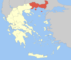 Location of Eastern Macedonia and Thrace