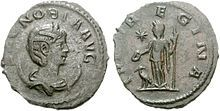 Both sides of a coin commemorating Zenobia