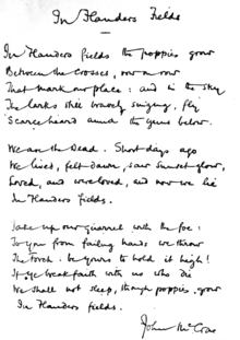 """The poem handwritten by McCrae. In this copy, the first line ends with """"grow"""", differing from the original printed version."""