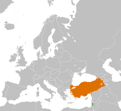 Map indicating locations of Palestine and Turkey