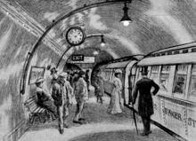 """Sketch showing about a dozen people standing on an underground railway platform with a train standing at the platform. Several more people are visible inside the train, which has the words """"Baker St"""" visible on its side."""