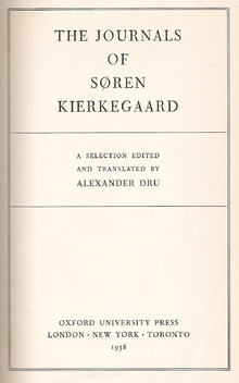 """Title page of a book, headed """"THE JOURNALS OF SØREN KIERKEGAARD"""""""
