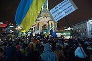 Euromaidan-protestors on 27 November 2013, Kyiv, Ukraine