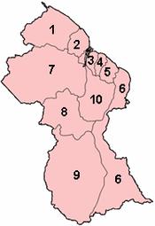 Guyana regions numbered (GINA).png