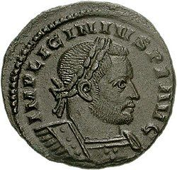 Coin depicting man with diadem and military garb